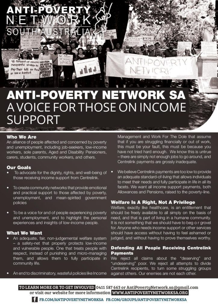 Anti-Poverty Network SA - A Voice For Low-Income People